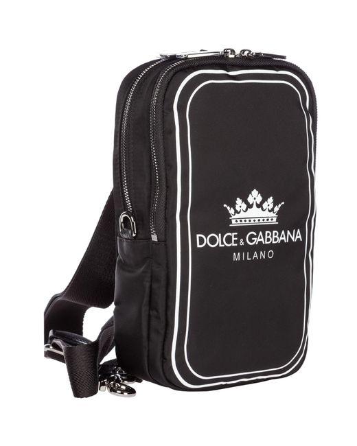 2aded6bf34 ... Dolce & Gabbana - Black And White Crown Logo Print Cross-body Bag for  Men ...