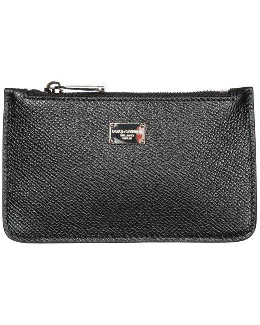 Dolce & Gabbana Black Men's Wallet Genuine Leather Coin Case Holder Purse Card for men