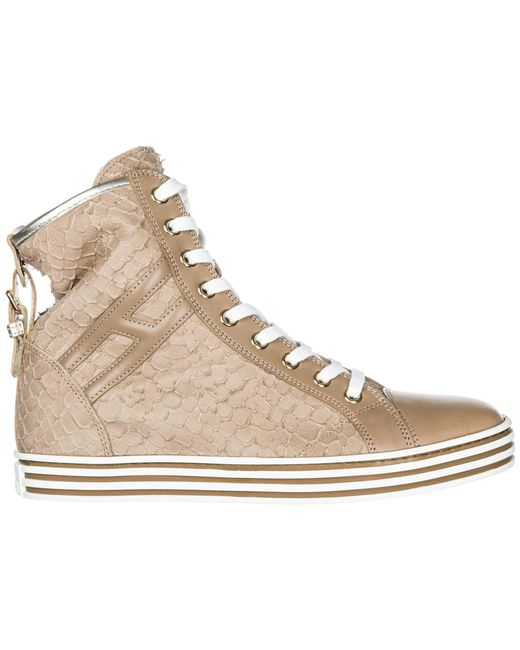 5b4bba8a98c Hogan Rebel - Natural Shoes High Top Leather Trainers Sneakers R182 - Lyst  ...