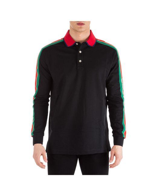 0fd08b043fbd4e Gucci Cotton Polo With Stripe in Black for Men - Save 4% - Lyst
