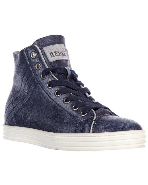 dacc1f28d30 ... Hogan Rebel - Blue Shoes High Top Leather Trainers Sneakers R182 Rebel  Vintage for Men ...
