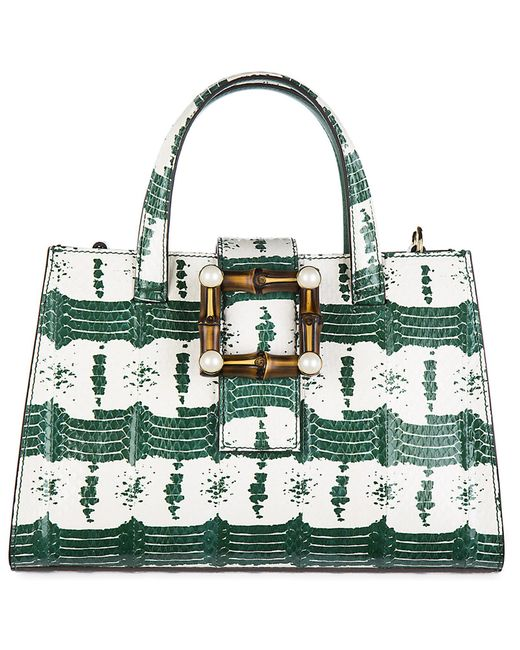 2c59079cd8c Lyst - Gucci Leather Handbag Shopping Bag Purse Nymphaea in Green ...