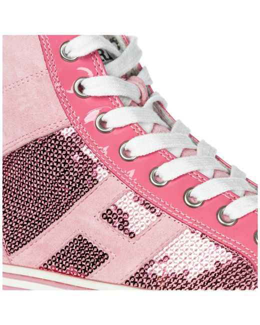a028cea5176 ... Hogan Rebel - Pink Shoes High Top Suede Trainers Sneakers R141 - Lyst