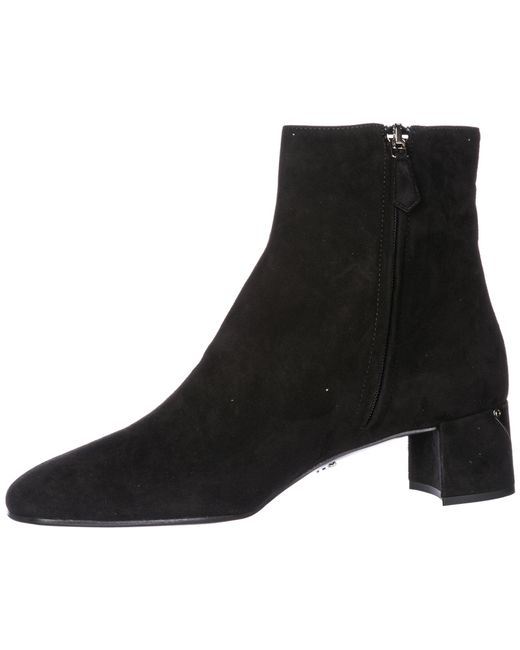 ea3bb50d81cb Prada Logo-appliquéd Suede Ankle Boots in Black - Save 35% - Lyst