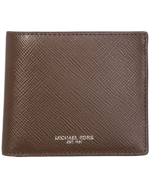 Michael Kors - Brown Genuine Leather Wallet Credit Card Bifold Harrison for Men - Lyst