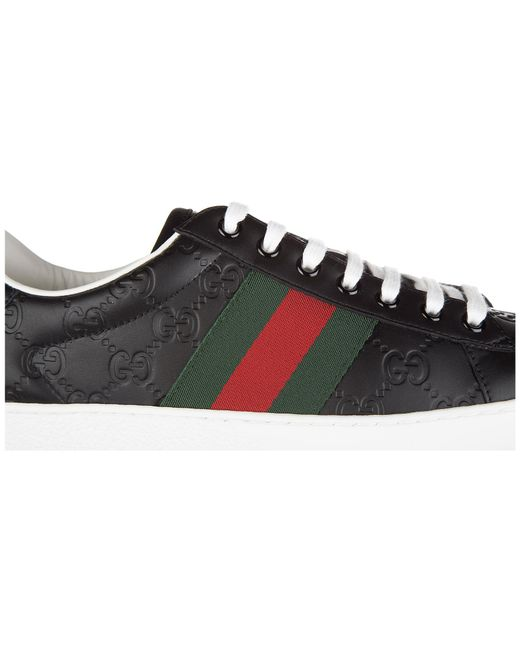 5e7dbc6248c ... Gucci - Black Shoes Leather Trainers Sneakers Signature for Men - Lyst  ...