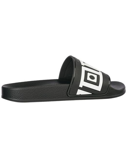765d1d57186b Versace Logo Print Slide Sandals in Black for Men - Save 58% - Lyst