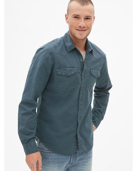 43b3ace18f9 Gap - Blue Denim Western Shirt In Slim Fit for Men - Lyst ...