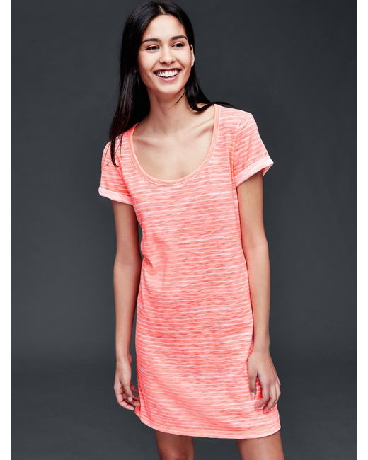 Gap roll sleeve stripe t shirt dress in pink neon double for Gap petite t shirts