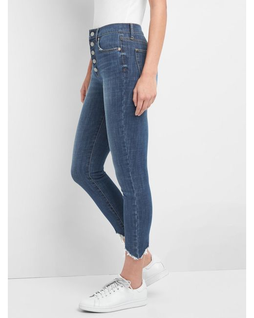 33275bc65d ... Gap - Blue High Rise True Skinny Ankle Jeans In 360 Stretch - Lyst ...
