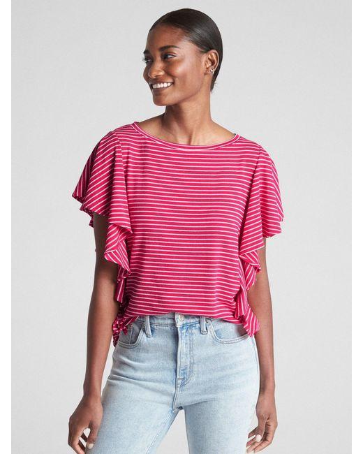8503b87f9334b Gap Softspun Flutter Sleeve Stripe Top in Pink - Lyst