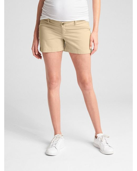 dbe57aff4797 Gap - Natural Maternity Inset Panel Summer Shorts In Stretch Twill - Lyst