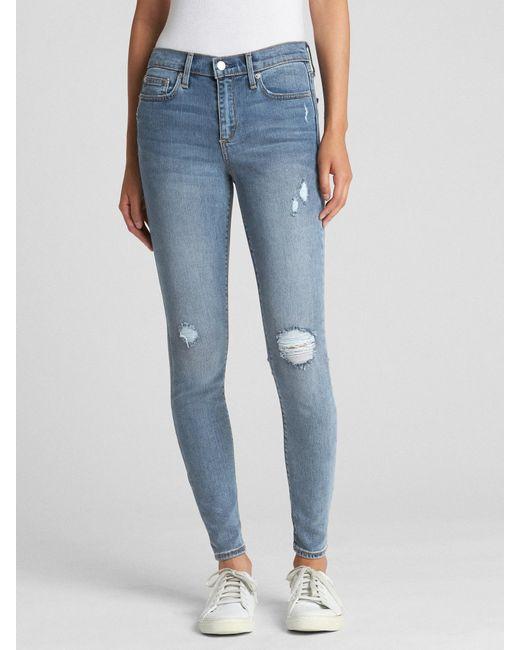 Gap - Blue Soft Wear Mid Rise True Skinny Jeans In Distressed - Lyst