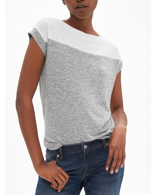 GAP Factory - Gray Softspun Colorblock Boatneck T-shirt - Lyst