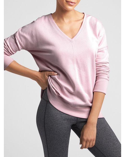 GAP Factory - Pink V-neck Tunic Sweatshirt In Fleece - Lyst