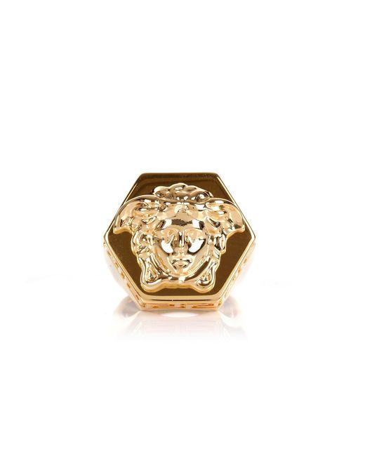 Versace - Metallic Greca Border Medusa Head Ring Gold for Men - Lyst