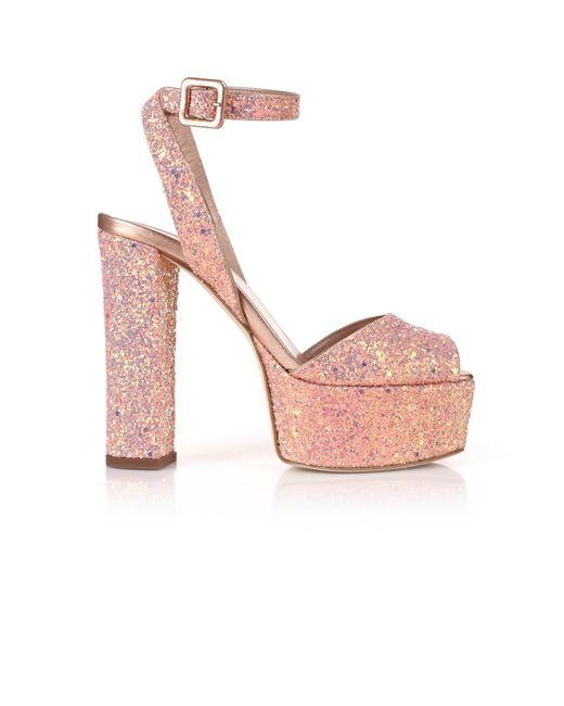 Giuseppe Zanotti - Pink Betty Glitter Platform Sandal Rose Gold Glitter - Lyst
