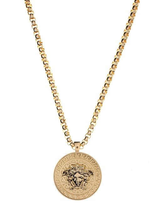 Versace - Metallic Medusa Head Medallion Gold Necklace - Lyst