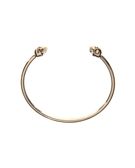 Alexander McQueen - Metallic Thin Twin Skull Bracelet New Gold - Lyst