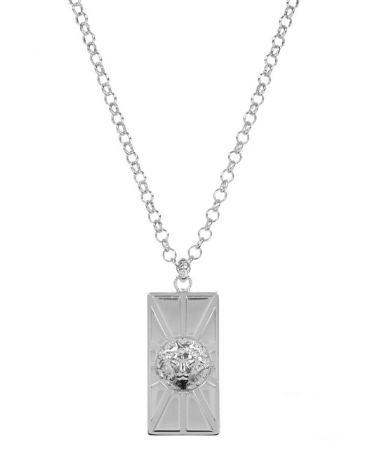 Versus    Metallic Lion Head Sun Necklace Silver   Lyst