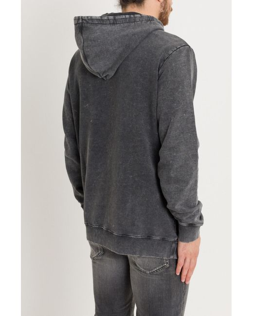 1dbeb8546ae ... Saint Laurent - Gray Delavé Hoodie With Logo Print for Men - Lyst ...