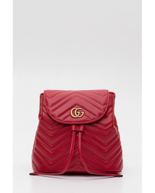 Lyst - Gucci Gg Marmont Quilted Leather Backpack in Red - Save 20% dcd49638cb525