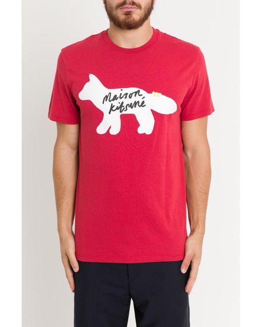 Maison Kitsuné - Red Fox Handwriting Tee for Men - Lyst