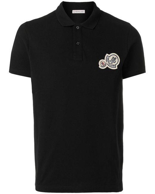 Moncler - Black Logo Polo Shirt for Men - Lyst