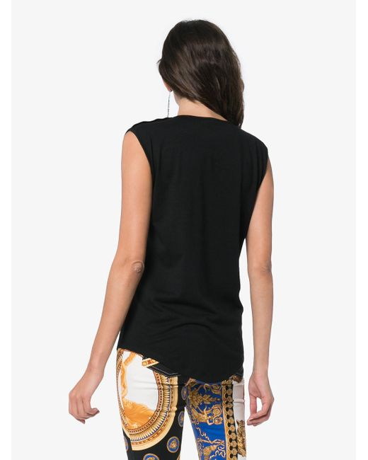 9e9ac668 Lyst - Balmain Printed Cotton Top in Black - Save 69%