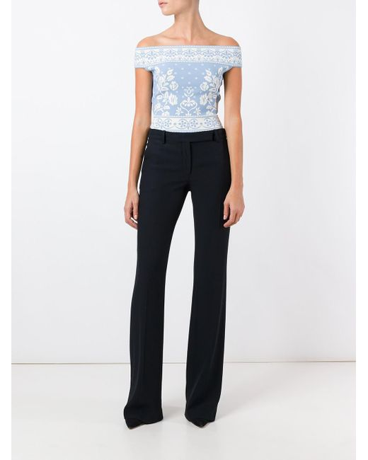 Alexander McQueen | Blue Floral Jacquard Cropped Top | Lyst