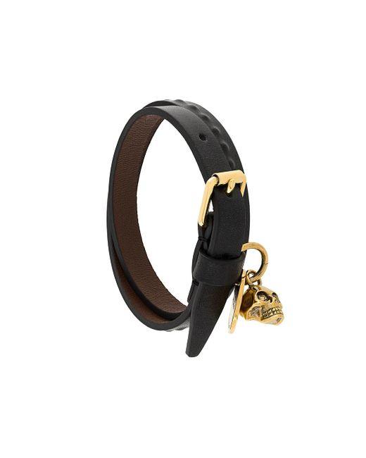 Alexander McQueen - Multicolor Skull Leather Bracelet for Men - Lyst