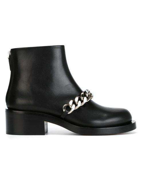 Givenchy - Black Chain Strap Ankle Boot - Lyst