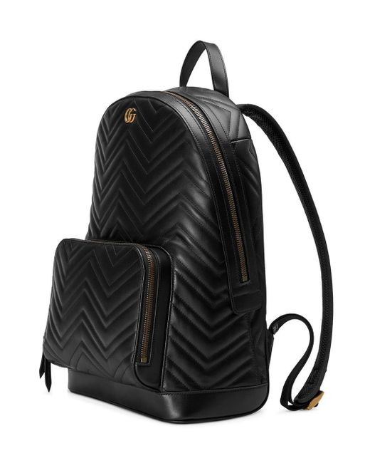 Gucci Black Quilted GG Marmont Backpack in Black for Men - Save 16 ... b2ed6ab95fb70