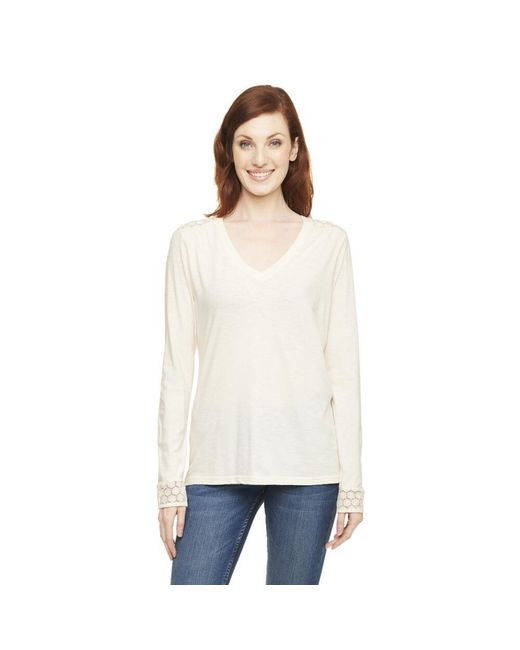 G.H. Bass & Co.   White Long Sleeve Vneck Lace Cuff And Shoulder   Lyst