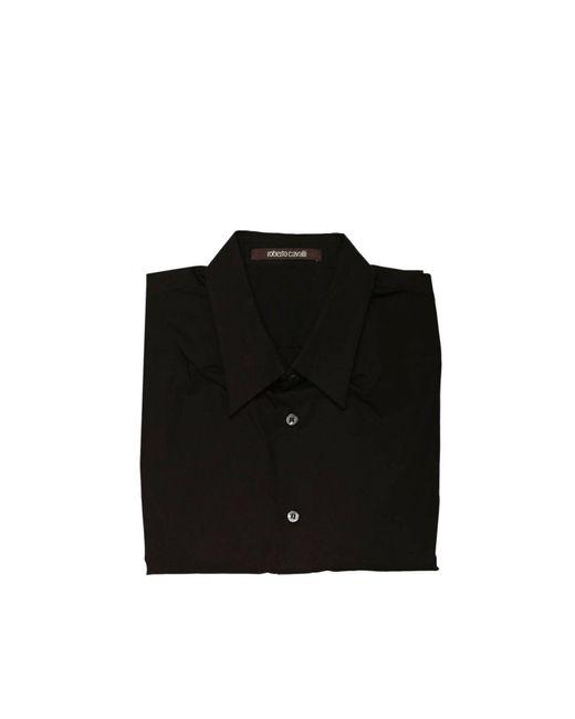 Roberto Cavalli | Black Shirt Italian Neck Popeline Slim for Men | Lyst