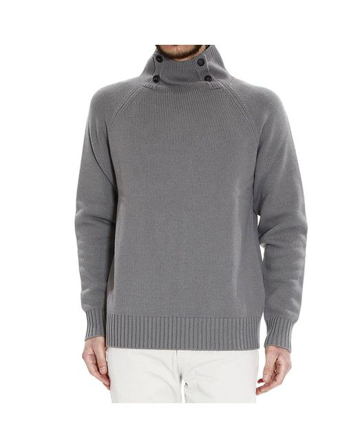 Giorgio Armani | Gray Sweater Buttoned Turtleneck for Men | Lyst