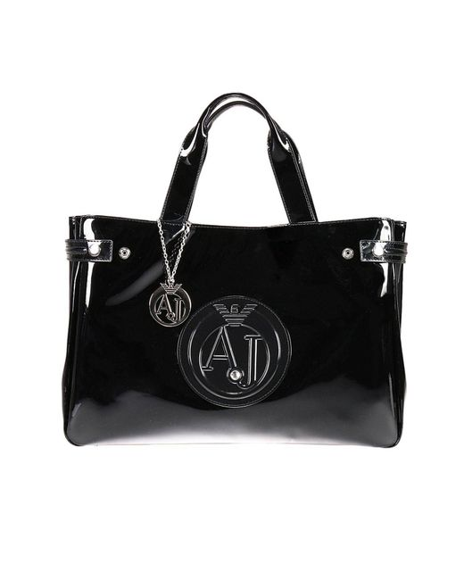 Armani Jeans | Black Mini Bag Patent Leather Classic Shopping Bag With Rhinest | Lyst