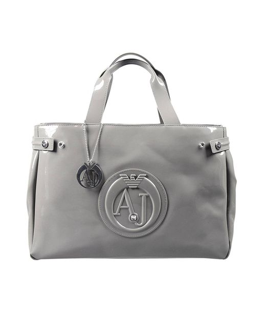 Armani Jeans | Gray Handbag Patent Leather Classic Shopping Bag With Rhinest | Lyst