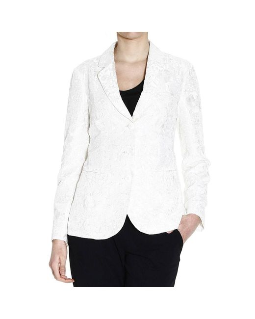 Emporio Armani | White Blazer 3 Buttons Satin Silk Embroidered Cordonetto | Lyst