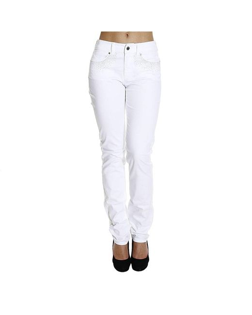 Armani Jeans | White Jeans Bull Stretch Waist High With Studs | Lyst