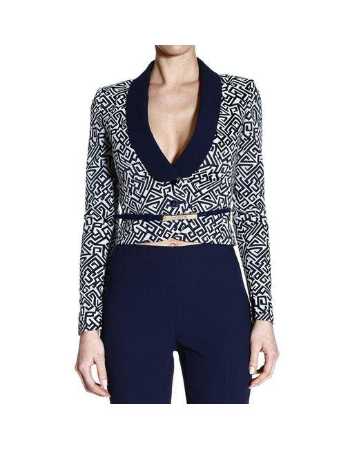 Patrizia Pepe | Black Blazer Jacket 1 Button Jaquard Lapels Satin | Lyst