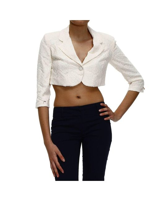 Patrizia Pepe | White Blazer Jacket 1 Button Short Lace | Lyst