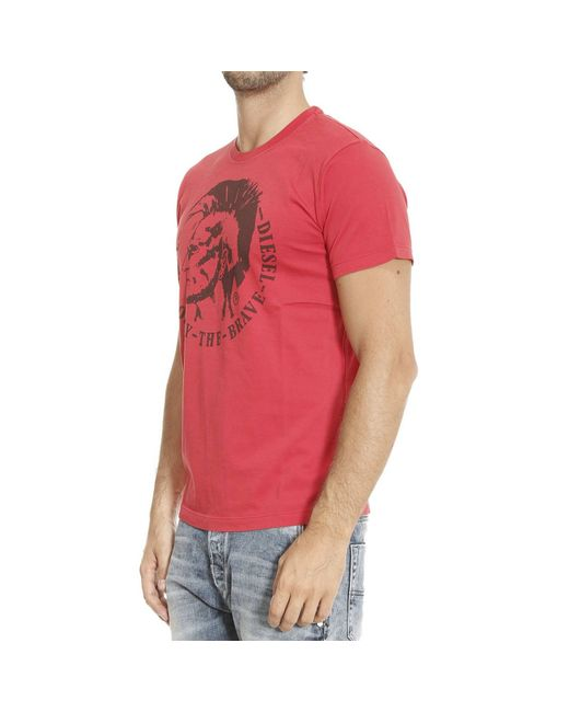 Diesel t shirt man in red for men lyst for Diesel tee shirts sale