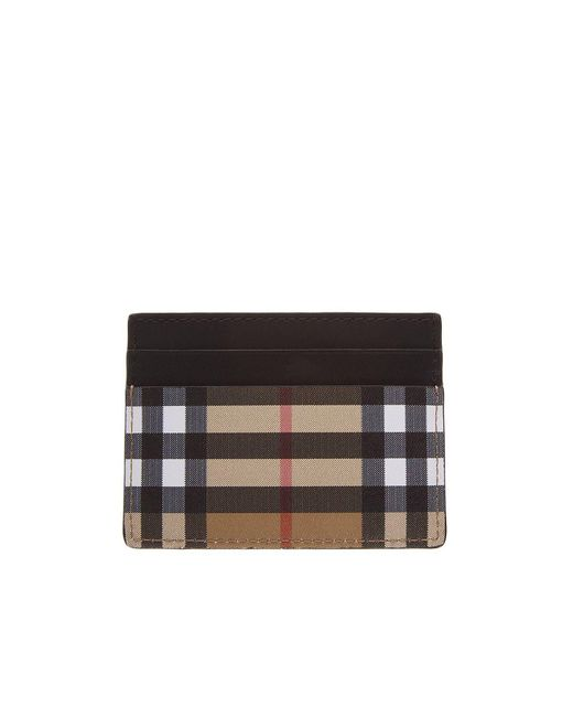 Burberry - Black Check Print Leather Cardholder for Men - Lyst