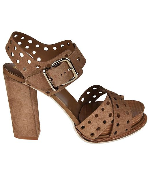 Tod's - Natural Heeled Sandals Shoes Women - Lyst