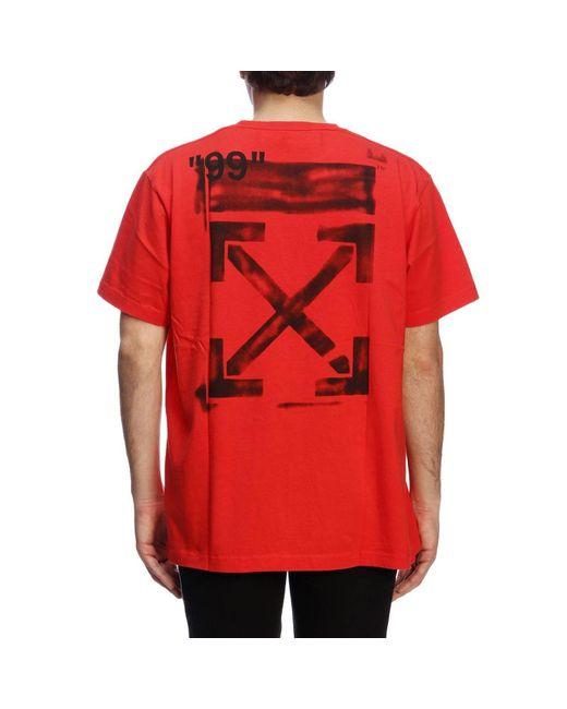 47d612e3c140 Off-White c o Virgil Abloh Logo Stencil Print T-shirt in Red for Men ...