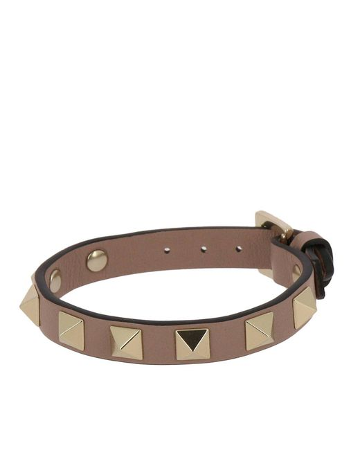 Valentino - Multicolor Valentino Rockstud Spikes Bracelet In Genuine Leather With Adjustable Buckle - Lyst