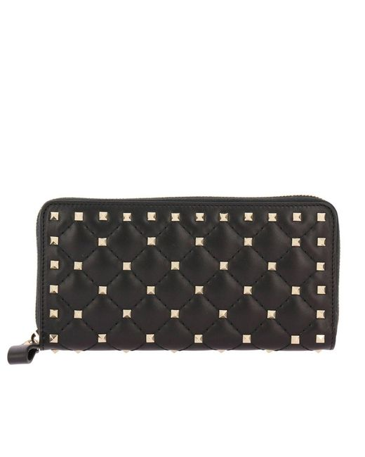 Valentino - Black Rockstud Continental Spike Wallet With Zip - Lyst