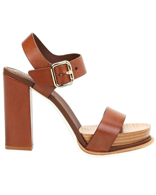 Tod's | Brown Heeled Sandals Shoes Women | Lyst