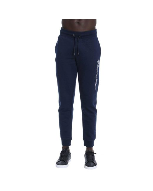 Emporio Armani - Blue Fleece Trousers for Men - Lyst